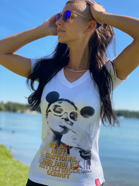 Frauen-Shirt EMOTIONAL MITTELFINGER, weiß mit V-Ausschnitt