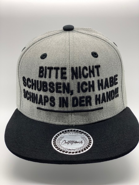 Snapback Cap SCHNAPS IN DER HAND, grau/schwarz