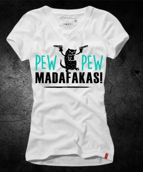 Girls-Shirt Pew Pew Madafakas, weiß