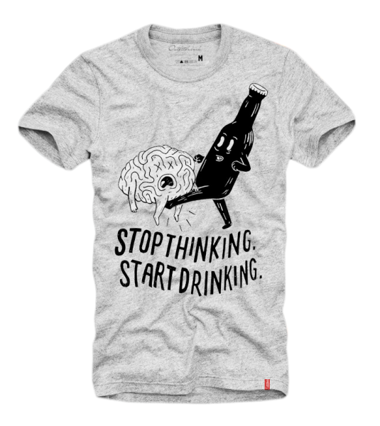 Shirt START DRINKING, grau