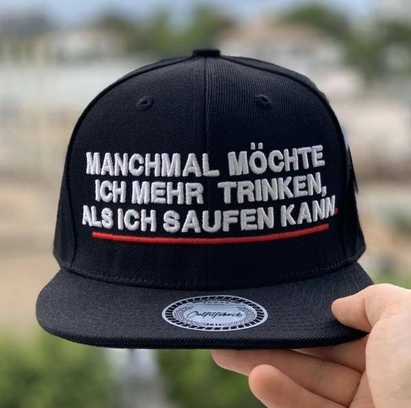 Snapback Cap MANCHMAL MÖCHTE ICH MEHR TRINKEN, schwarz
