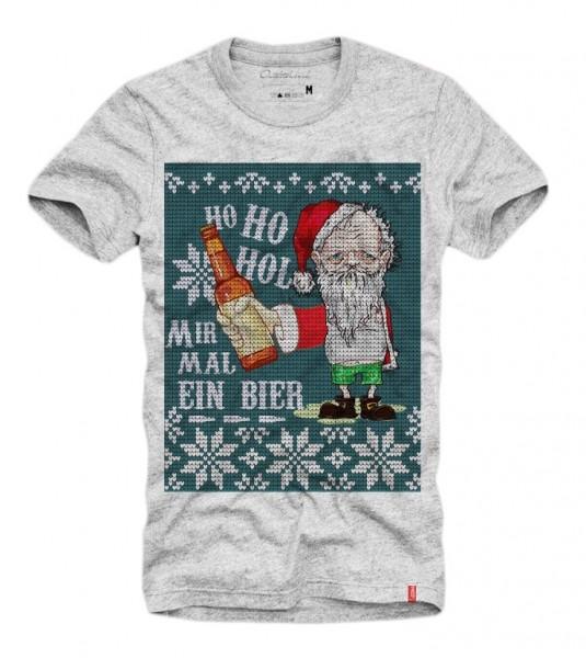 Shirt HO HO HOL MIR MAL EIN BIER (Xmas, Ugly Christmas, Weihnachten), grau