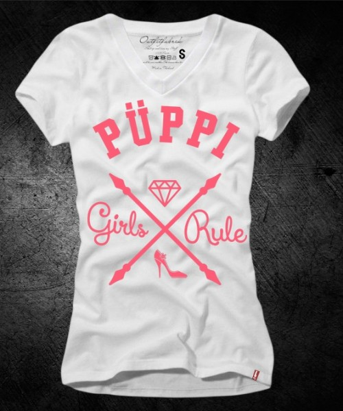 Girls-Shirt PÜPPI, weiß-pink