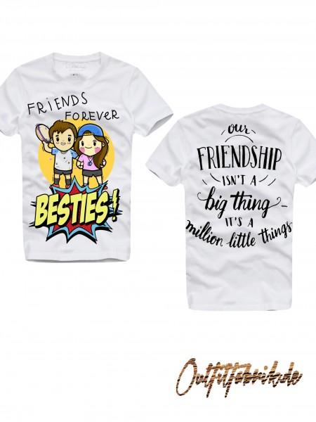 Shirt BESTIES, GIRL / BOY, weiß