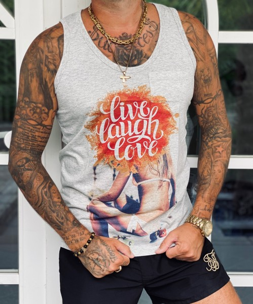Tank Top LIVE LAUGH LOVE, grau melange