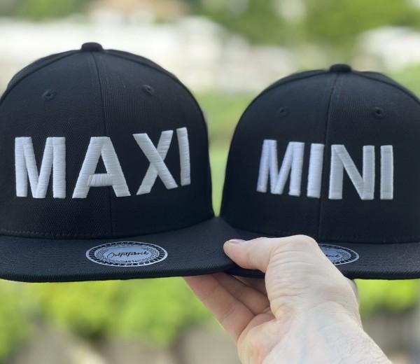 Snapback Cap MAXI oder Kids-Cap MINI, schwarz