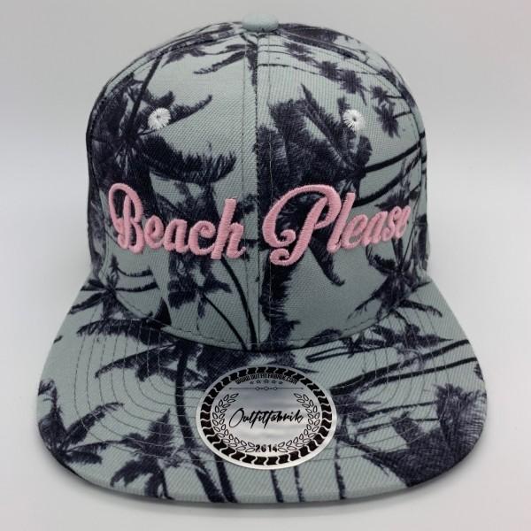 Snapback Cap BEACH PLEASE, Palmen/rosa