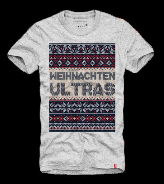 Shirt WEIHNACHTEN ULTRAS (SCHNEEFLOCKE), grau (Ugly Christmas, Xmas)