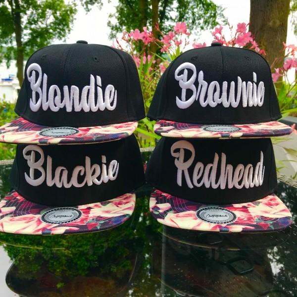 Snapback Cap BLONDIE, BROWNIE, BLACKIE oder REDHEAD, flower