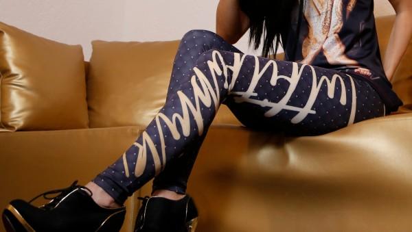Leggings Outfitfabrik GOLD-STEPP-OPTIK, blauschwarz