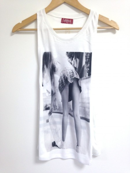 Tank Top Loose SKATEGIRL - BE REAL NOT PERFECT, weiß