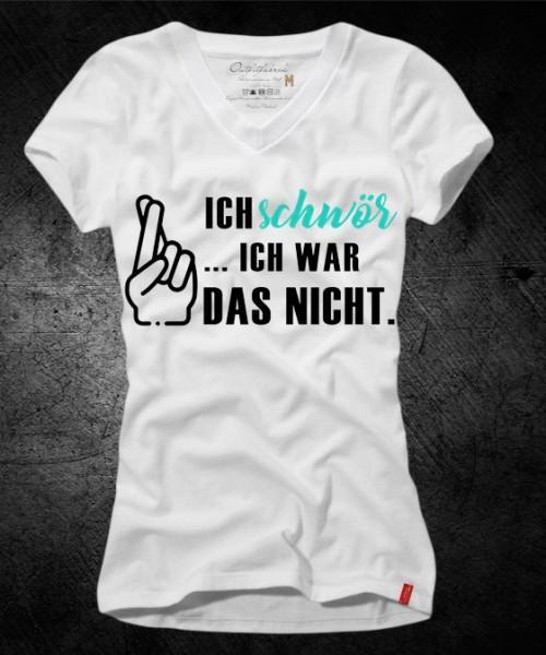 Frauen-Shirt ICH SCHWÖR, ICH WAR DAS NICHT, weiß mit V-Ausschnitt