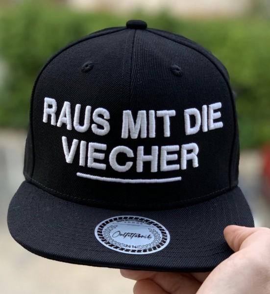 Snapback Cap RAUS MIT DIE VIECHER, schwarz