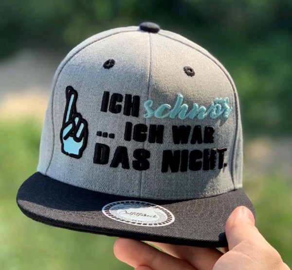 Snapback Cap ICH SCHWÖR... ICH WAR DAS NICHT , grau/schwarz