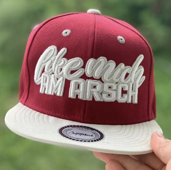 Snapback Cap LIKE MICH AM ARSCH, bordeaux/weiß