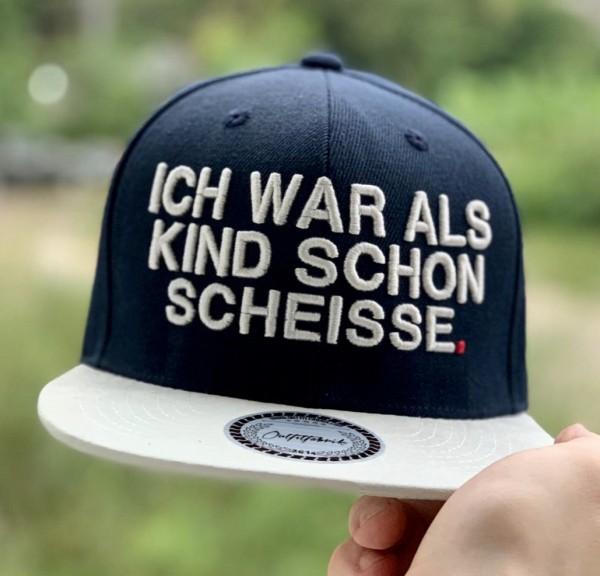 Snapback Cap ICH WAR ALS KIND SCHON SCHEISSE, navy-blau/weiß