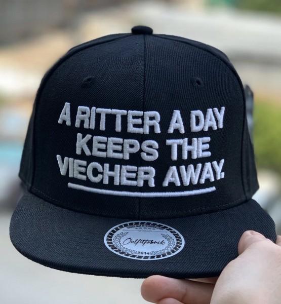 Snapback Cap A RITTER A DAY KEEPS.., schwarz