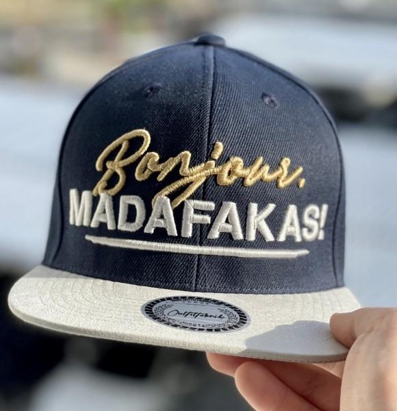 Snapback Cap BONJOUR MADAFAKAS, navy-blau/weiß