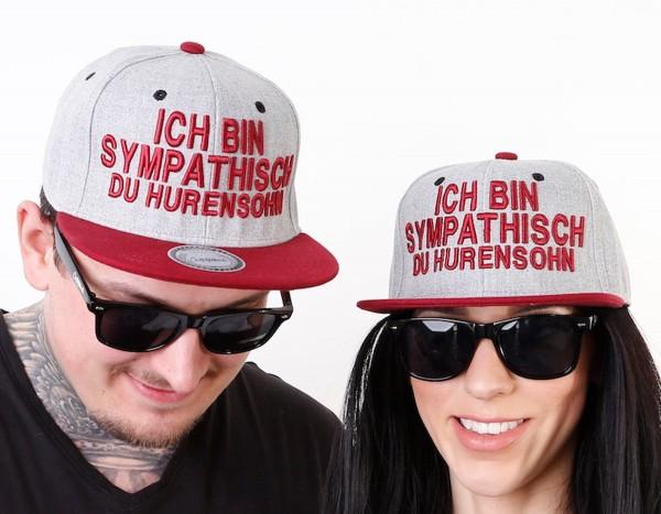 Snapback Cap HURENSOHN, grau/bordeaux
