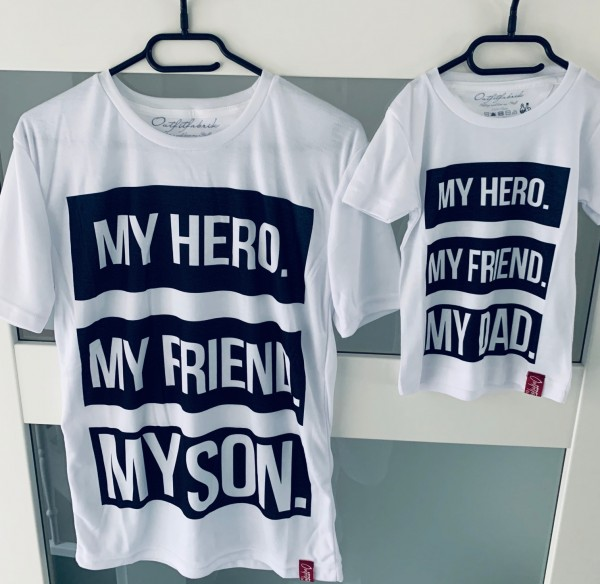 SET Shirts MY HERO MY SON und MY HERO MY DAD, weiß