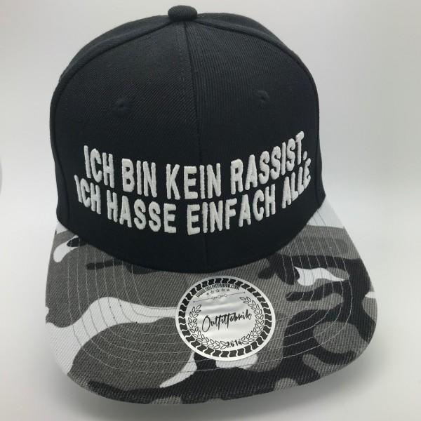 Snapback Cap ICH BIN KEIN RASSIST, schwarz/camouflage