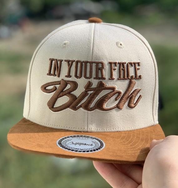 Snapback Cap IN YOUR FACE BITCH, beige/braun