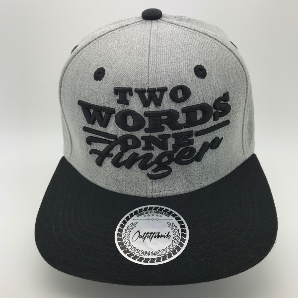 Snapback Cap TWO WORDS ONE FINGER, grau/schwarz