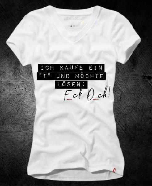 """Frauen-Shirt ICH KAUFE EIN """"I"""", weiß mit V-Ausschnitt"""