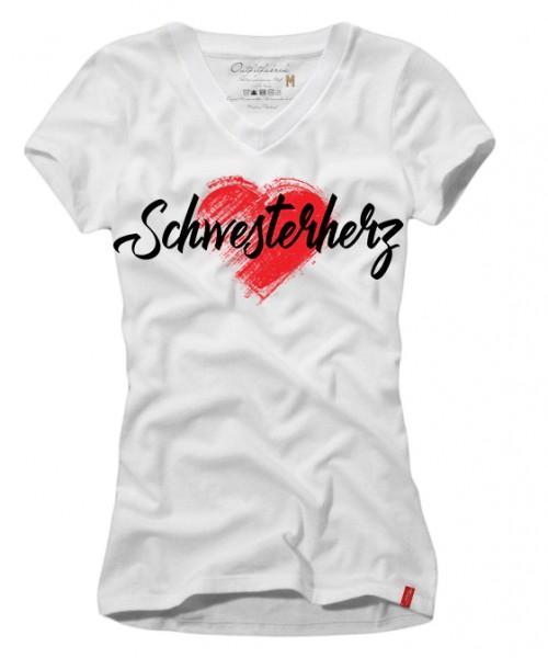 Frauen-Shirt SCHWESTERHERZ, weiß mit V-Ausschnitt