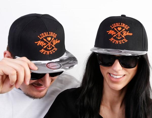 Snapback Cap LIEBLINGSMENSCH ME&YOU, camo-orange