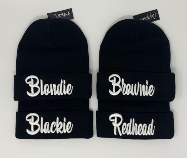 Beanie BLONDIE, BROWNIE, BLACKIE oder REDHEAD, schwarz