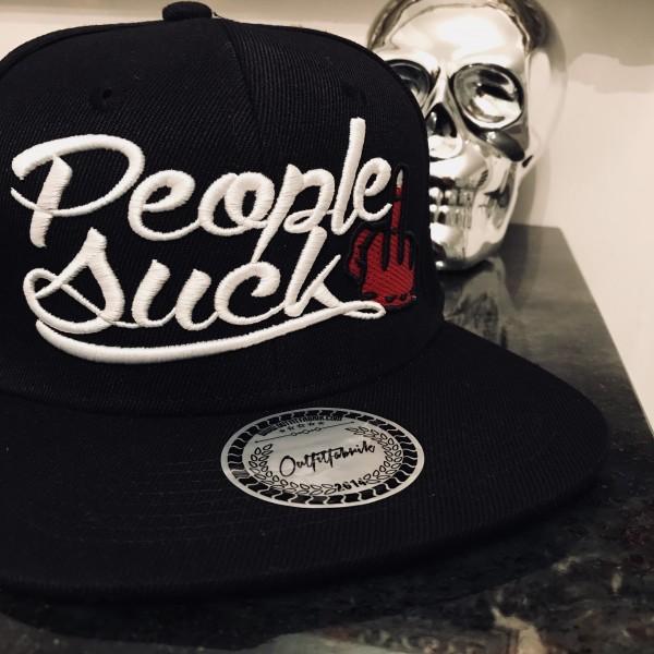 Snapback Cap PEOPLE SUCK, schwarz