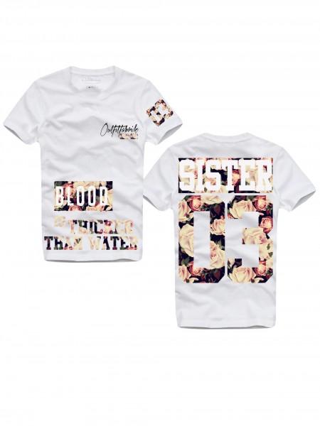 Shirt SISTER, ROSENPRINT, weiß