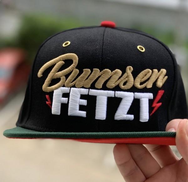 Cap BUMSEN FETZT, schwarz/rot/grün