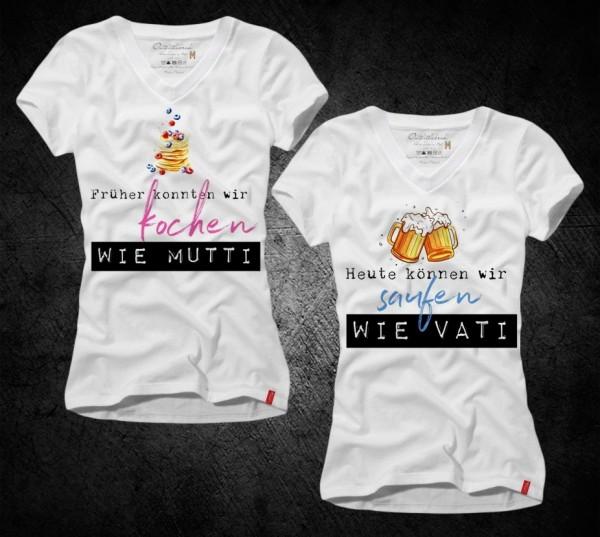 """Frauen-Shirt """"Kochen wie Mutti"""" ODER """"Saufen wie Vati"""", weiß mit V-Ausschnitt"""