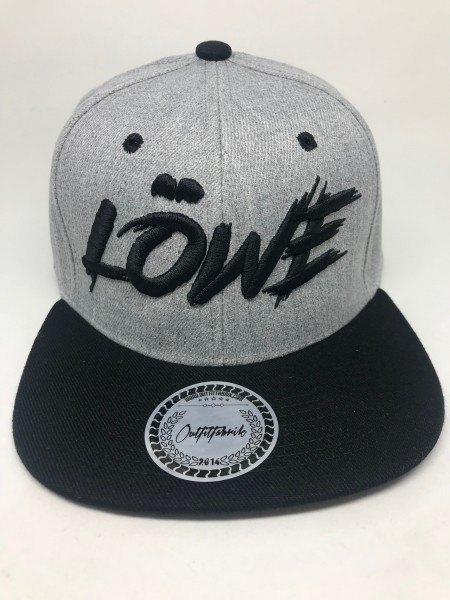Snapback Cap LÖWE oder LÖWIN , grau/schwarz