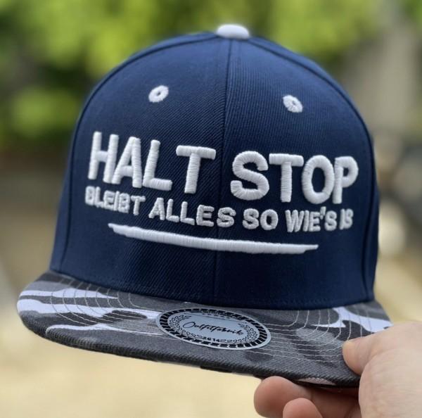 Cap HALT STOP, BLEIBT ALLES SO WIE´S IS, blau/camouflage