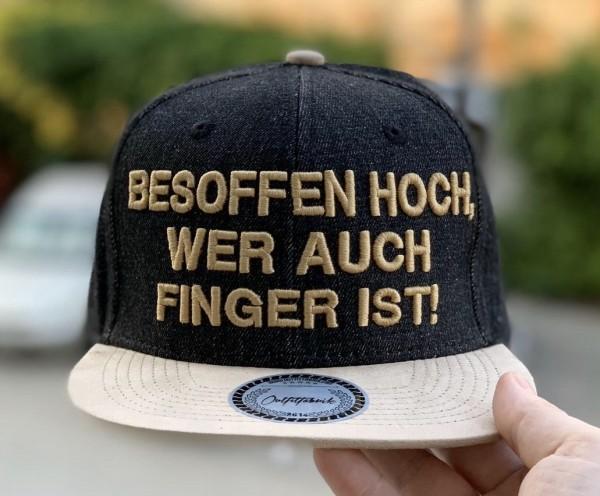 Snapback Cap BESOFFEN HOCH, schwarz/beige
