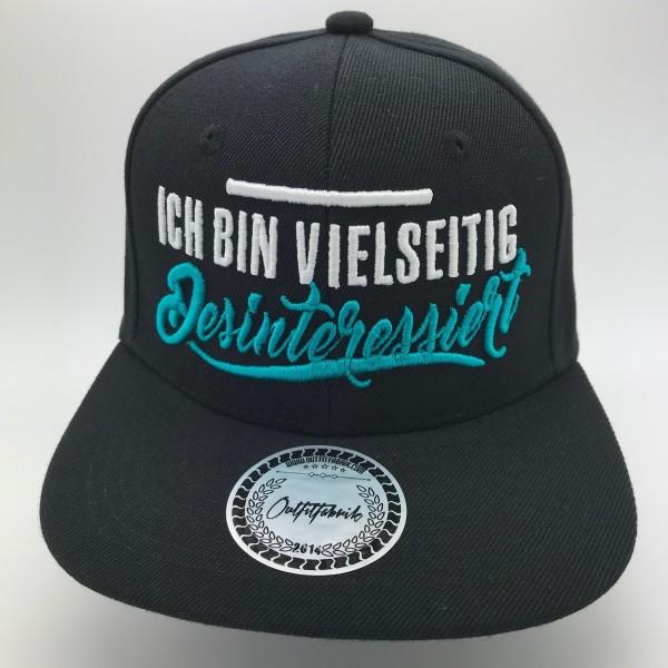 Snapback Cap VIELSEITIG DESINTERESSIERT, schwarz