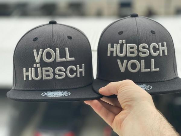 "Snapback Cap SET ""HÜBSCH VOLL"" und ""VOLL HÜBSCH"" dunkelgrau/schwarz"