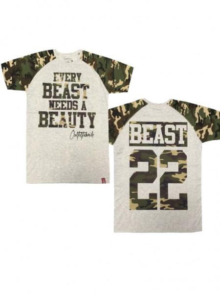 Shirt BEAST, grau melange/camouflage