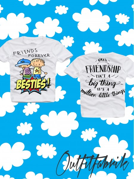 Kindershirt BESTIES, BOYS, weiß