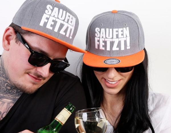 Snapback Cap SAUFEN FETZT, grau/orange