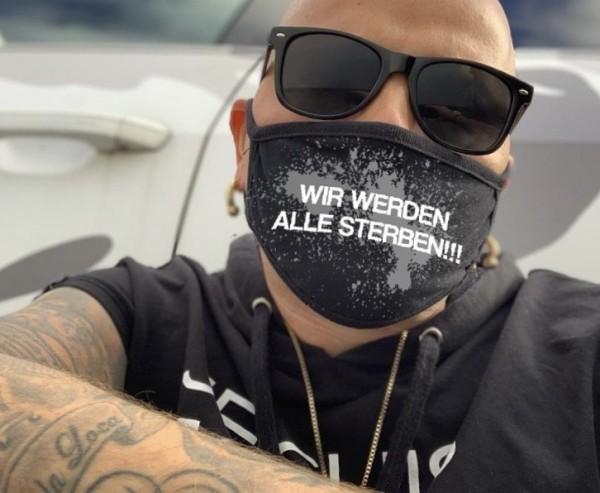 Nasen-Mund-Maske WIR WERDEN ALLE STERBEN, schwarz