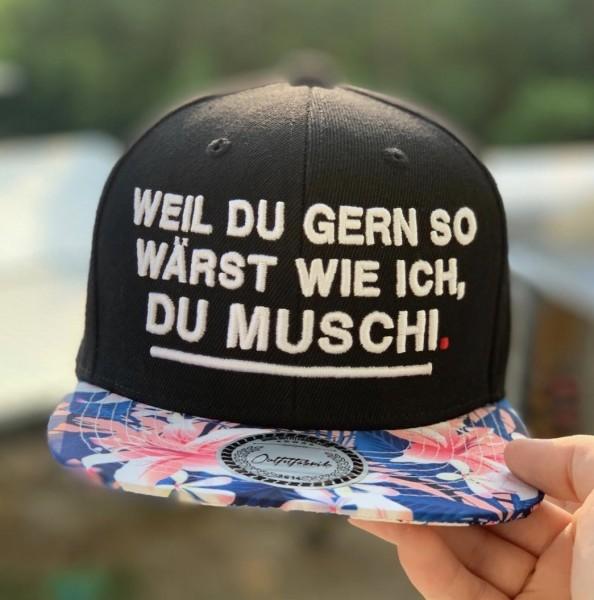 """Snapback Cap """"Weil du gern so wärst wie ich, Du Muschi"""", flower"""