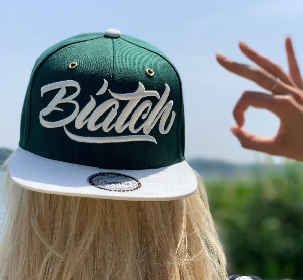 Snapback Cap BIATCH, dunkelgrün/weiß