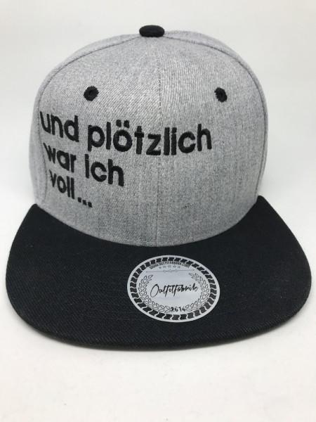 Snapback Cap PLÖTZLICH VOLL... , grau/schwarz