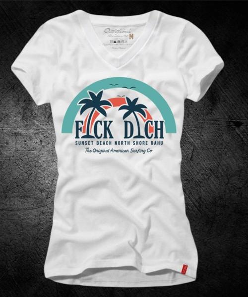 """Frauen-Shirt """"FICK DICH - PALMEN"""", weiß mit V-Ausschnitt"""