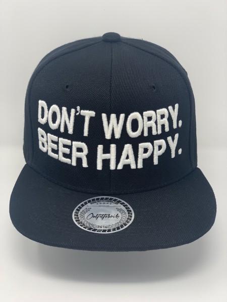 Snapback Cap DON´T WORRY BEER HAPPY, schwarz