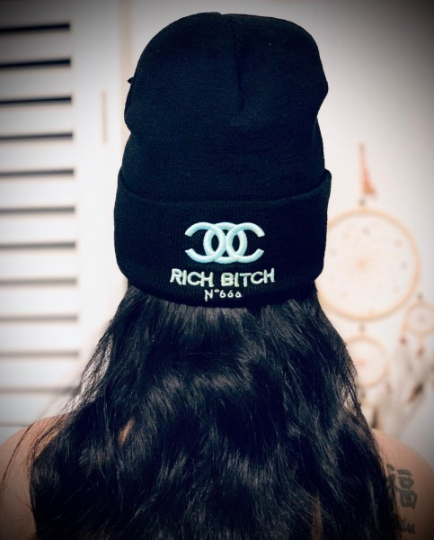 Beanie RICH BITCH No.666, schwarz
